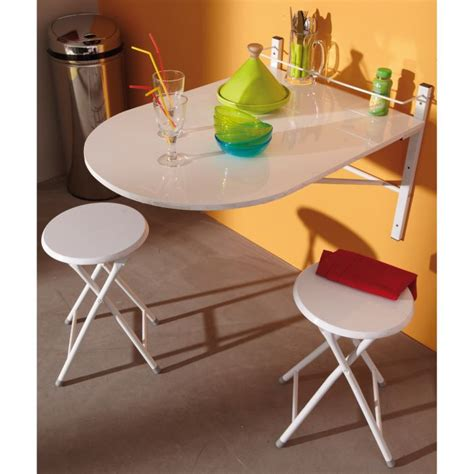 table avec tabouret cuisine table murale sinai pliable avec 2 tabourets achat
