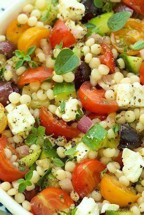 cuisiner tomates cerises salade de couscous perlé au fêta olives kalamata et