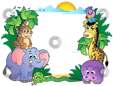 frame  cute african animals stock vector