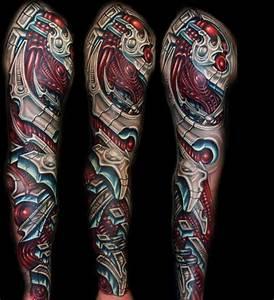 Lower Leg Sleeve Tattoo   biomechanical full sleeve ...