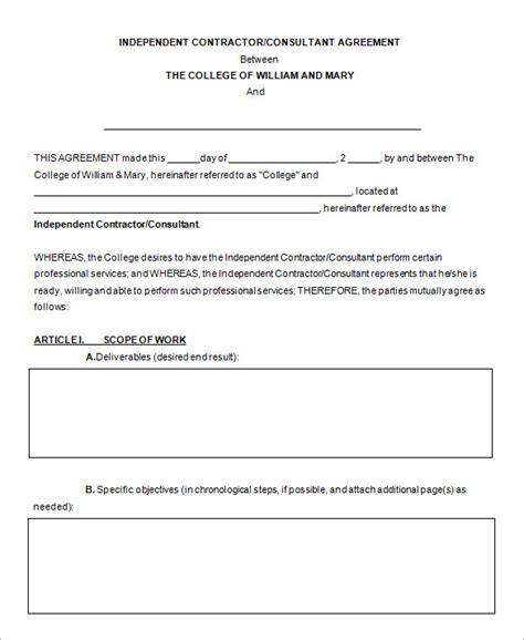 consultant contract templates word google docs