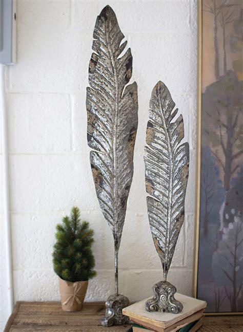 feather metal sculptures set