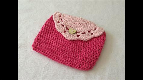 easy crochet pretty purse clutch bag tutorial