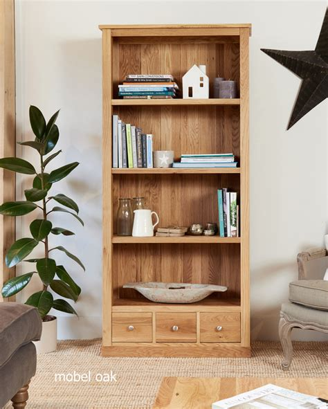 Oak Bookcases With Drawers by Mobel Solid Oak Modern Large Bookcase With 3 Drawers