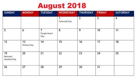printable august calendar holidays usa uk