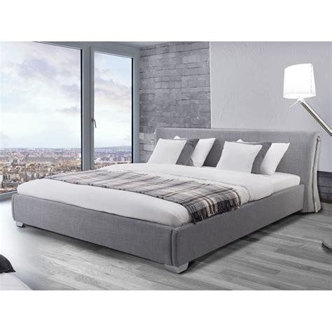 contemporary grey rey upholstered bed frame