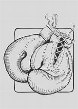 Boxing Coloring Glove Gloves sketch template