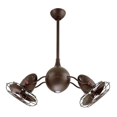 double head ceiling fan with light shop matthews acqua 16 in textured bronze downrod mount