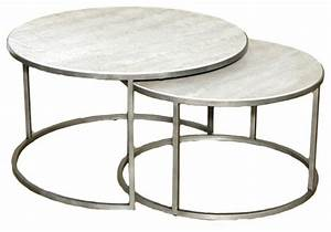 Round nesting coffee table shelby knox for Round stacking coffee table