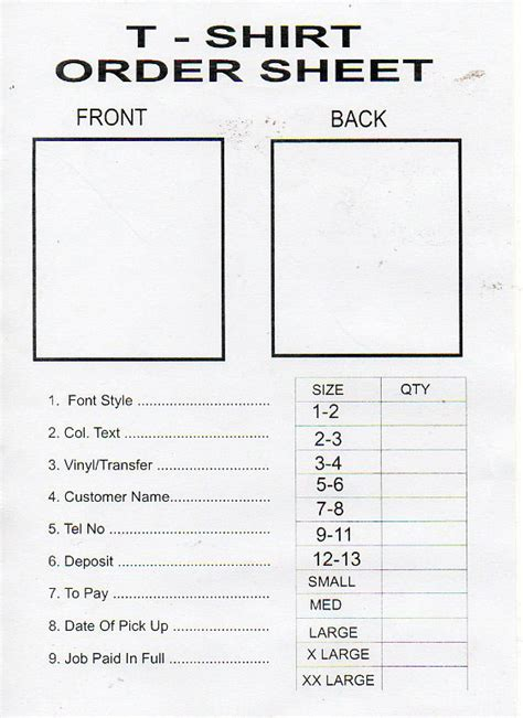 tshirt order form template business