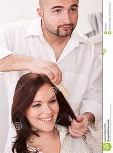 Hairdresser Comb Customer At Salon Stock Photography ...