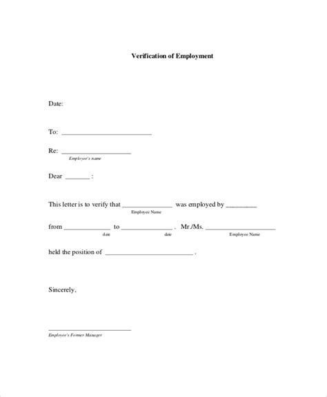 letter of employment verification 8 employment verification letter templates sle templates 7778
