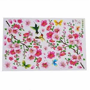 peach flower birds butterfly wall decals sticker mural With best brand of paint for kitchen cabinets with stickers for retail bags
