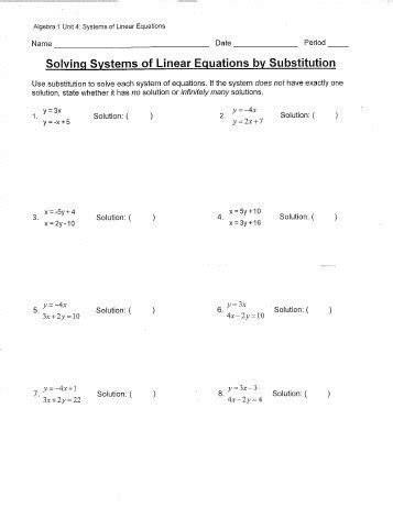 Solving Systems Of Linear Equations By Substitution Worksheet Pdf  Algebra Ii Homework 7