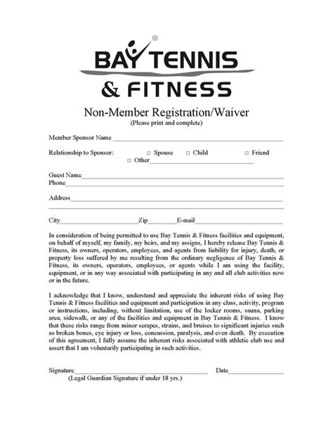 24 Images Of Template Fitness Waiver Helmettowncom