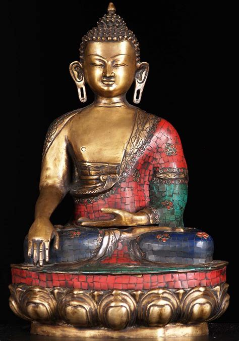 brass indian buddha  colored stones  bs