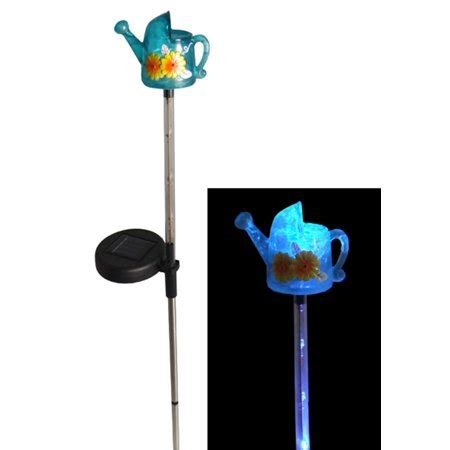 solar lights walmart 29 quot led lighted solar powered outdoor watering can garden