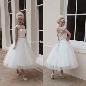high quality vintage lace short bride dresses tea length With tea length wedding dresses plus size