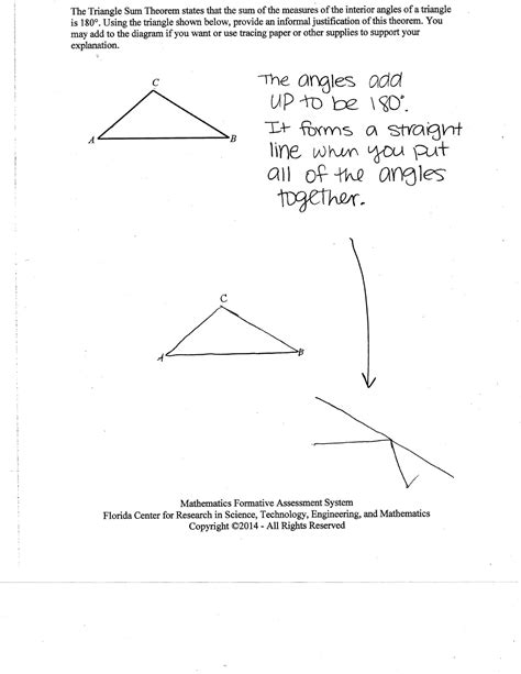 worksheet triangle sum and exterior angle theorem work