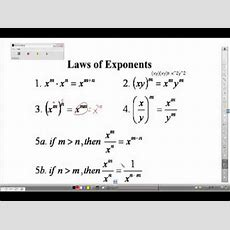 Algebra I Review Laws Of Exponents Youtube