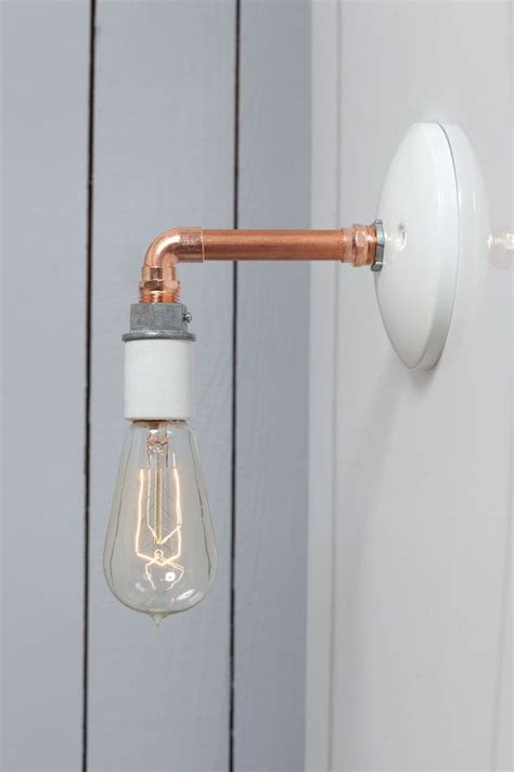industrial wall sconce copper pipe light bare bulb by