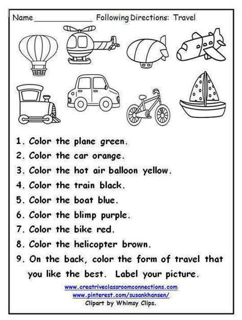 Following Directions Worksheets Homeschooldressagecom