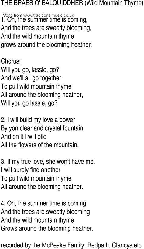 irish  song  ballad lyrics  wild mountain thyme