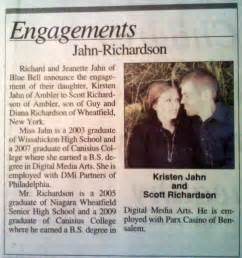 wedding announcements engagement announcement in the paper kirsten 39 s wedding