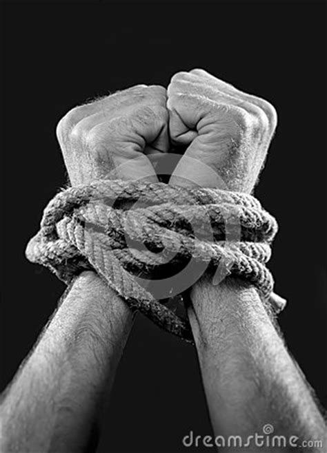 white man hands wrapped  rope  wrists  victim