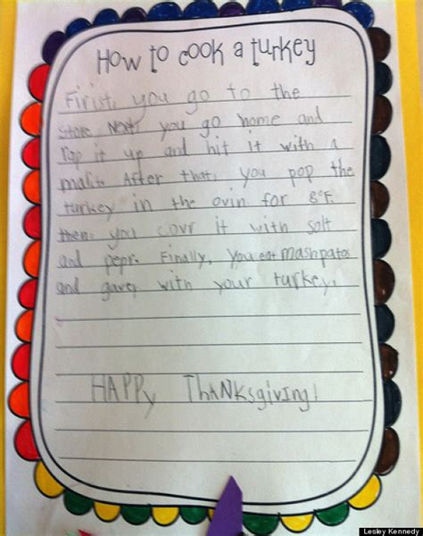 how to cook a turkey cute kid note of the day how to cook a turkey huffpost