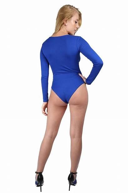Leotard Sleeve Bodysuit Ladies Neck Womens Plain