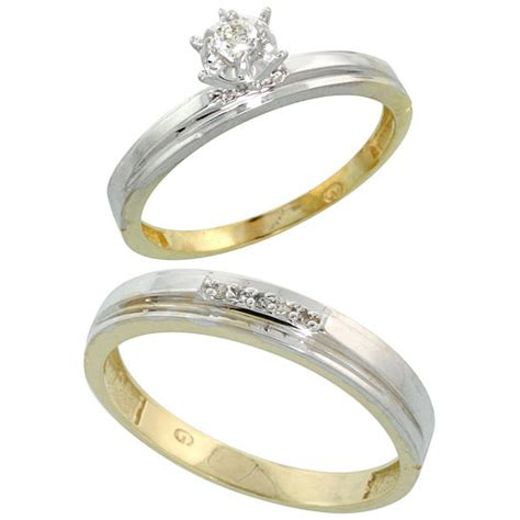 buy gold plated sterling silver 2 piece diamond wedding
