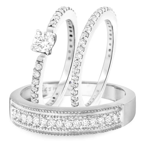 1 1 4 ct t w diamond engagement ring wedding band men s wedding band matching 14k