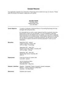 resume objective for an internship resume internship objective resume cover letter exle
