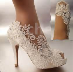 chagne colored shoes for wedding details about 3 quot 4 quot heel satin white ivory lace pearls open toe wedding shoes size 5 9 5