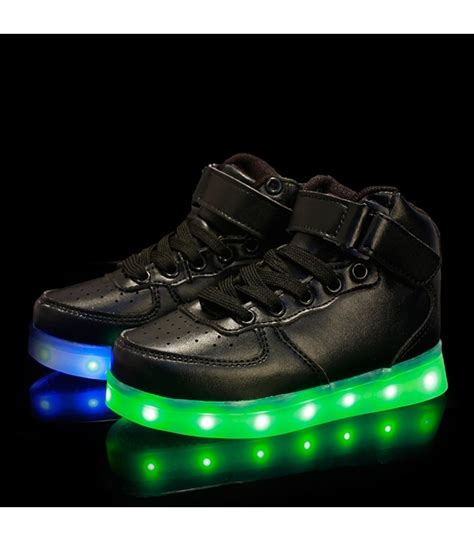 kids sneakers with lights glidekicks juniors black high tops led sneakers light up