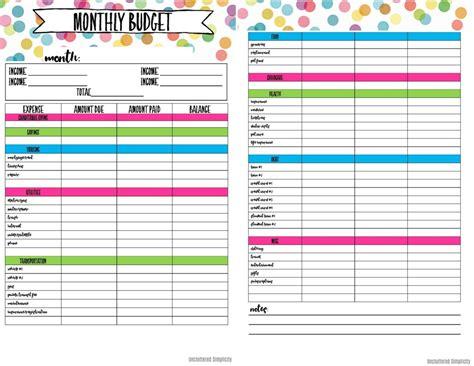 printable budget planning worksheets