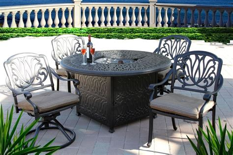 round table patio set outdoor 5pc outdoor patio dining set 52 quot round fire pit table