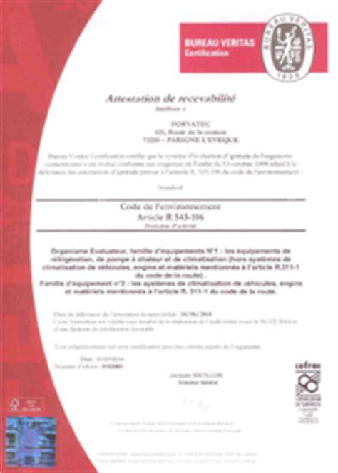 fluides frigorigenes bureau veritas habilitations et qualification forvatec