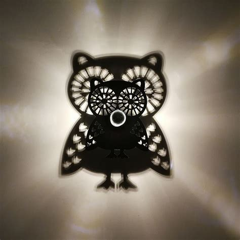 seven neon owl shape acrylic led wall light flower shadow