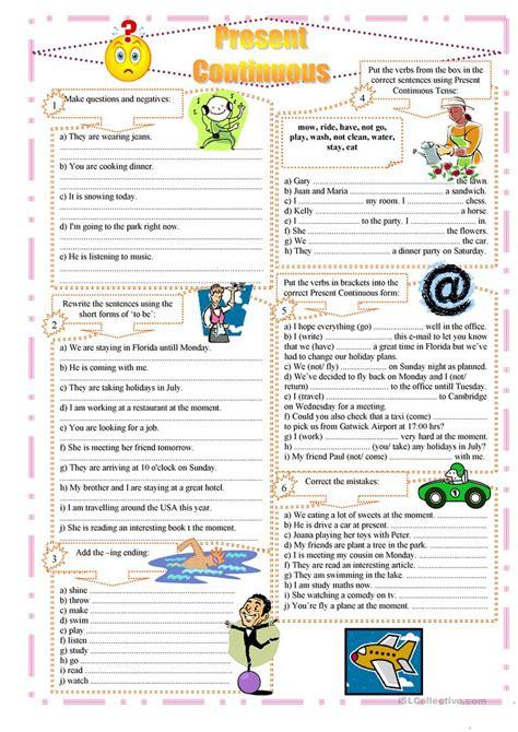 worksheet present progressive worksheets grass fedjp
