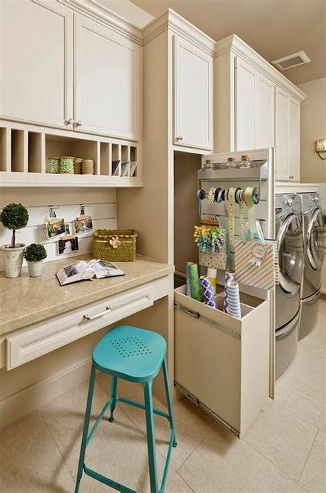 Craft Room In Laundry Room Features A Builtin Desk Paired