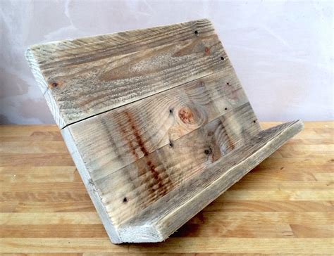 handmade cookbook  tablet stand   reclaimed
