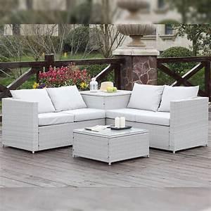 salon de jardin en resine tressee coffre silang gris With canape resine tressee exterieur 7 mobilier jardin bambou