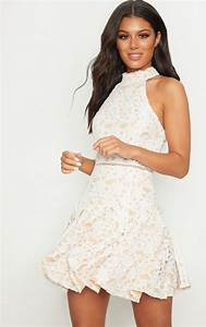 White Thick Lace High Neck Binding Detail Skater Dress ...