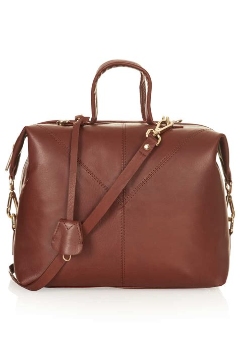 topshop large leather doctors bag  brown lyst