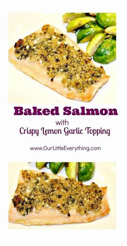Garlic Salmon Finish Start Baked Topping Crispy