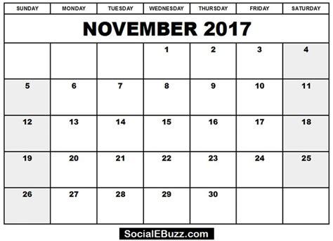 2017 calendar template pdf november 2017 calendar pdf monthly calendar template