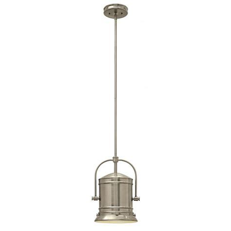 pendant light for sloped ceilings in brushed nickel