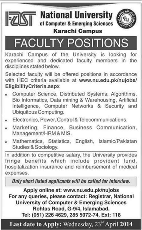 FAST University Karachi Jobs 2014 April Teaching Faculty